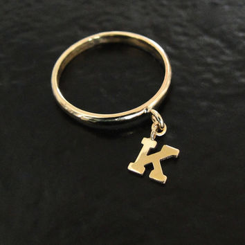 14K Gold Initial Ring - Personalized Letter Dangle Charm Ring, 1 - 4 Initials, Gemstone Birthstone Charms Available