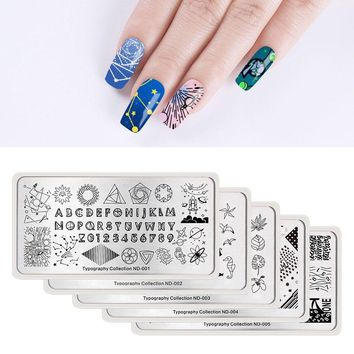 NICOLE DIARY Nail Stamping Plates Typography Seahorse Heart Rose Butterfly Nail Art Stamping Template Image Plate Stencil Tool