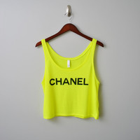 CHANEL Neon Yellow and Neon Pink Boxy Tank Top door DeadRingerDesign