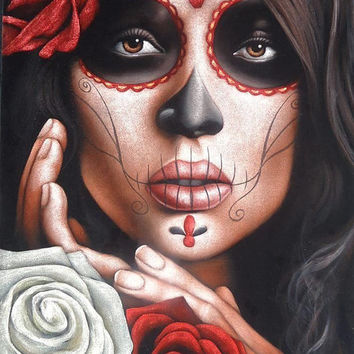 Mexican catrina skull girl black velvet oil painting handpainted signed art No.1