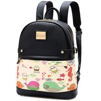 Fashion Cartoon Floral Print Backpack Travel Bag