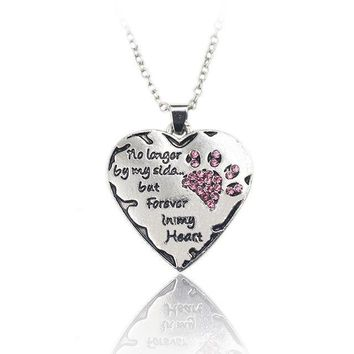 """no longer by my side, but forever in my heart"" Pendant Necklace"