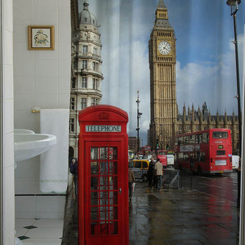 London Big Ben curtain that will make your bathroom adorable