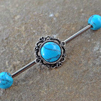 Turquoise Industrial Barbell Scaffold Piercing Turquoise Ends 14ga Body Jewelry Piercing Jewelry