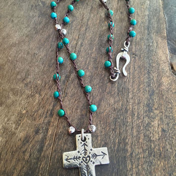 Boho Knotted Turquoise Necklace Cross Beaded Crochet Jewelry by Two Silver Sisters twosilversisters