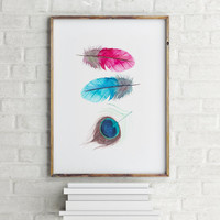 Feather poster Typography poster Colorful Feather Wall artwork Home decor Room poster Typographic print Wall art print Printable poster