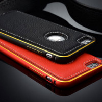 Business Classy Leather Metal Bumper iPhone Case for iPhone 5s/6/6plus