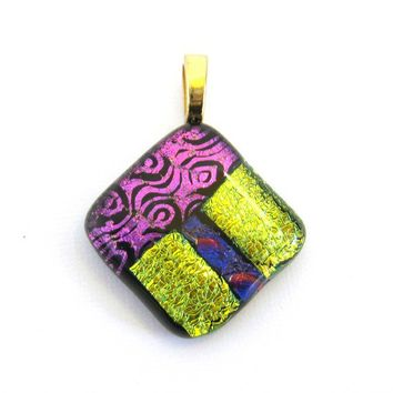 Pink and Yellow Dichroic Fused Glass Pendant Slide - One of a Kind - On the Edge - 3223