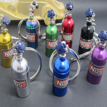 New Nitrous Oxide Bottle Extinguisher Keychain Mini Nitrous Oxide Bottle Keyring Stash Pill Box Storage Keyfob Random Color