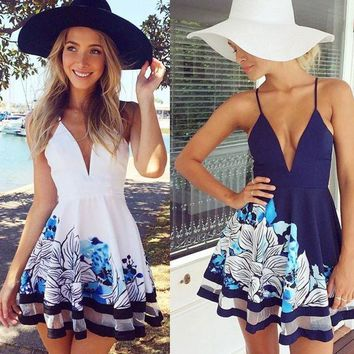 PEAPIX3 Spaghetti Strap Sexy Print White Blue Maxi Dress One Piece Dress [11545813967]
