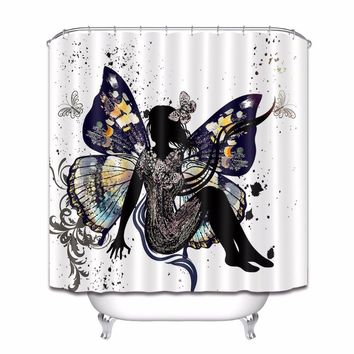 Black Floral Butterfly Fairy Shower Curtain