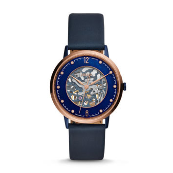 Limited Edition Nightscape Automatic Three-Hand Navy Blue Leather Watch