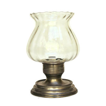 Pewter Hurricane Lamp. Vintage Glass and Pewter Candle Holder.