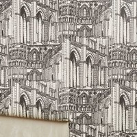 Gothic Arches Wallpaper by Anthropologie in Black & White Size: One Size Decor