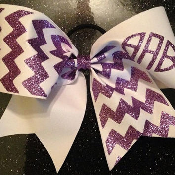 Glitter Chevron Monogram Cheer Bow personalize