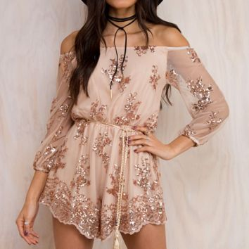 HOT sale fashion sexy off shoulder lace flower long sleeve romper
