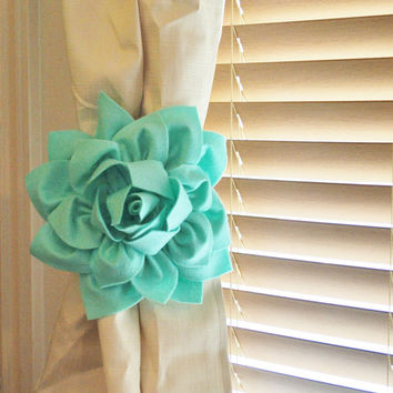 Mint Dahlia Flower Curtain Tie Backs