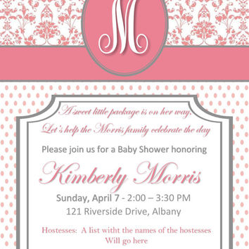 DIY PRINTABLE Classy Baby Girl Shower Invitation with Pink Damask and Polka Dots with Monogram