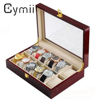 ac spbest Cymii 12 Slots Wood Watch Box Display Case Glass Top Bracelet Watch Jewelry Collection Storage Organizer Holder Box
