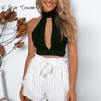 Chiffon Backless Crop Top Women Cut Out Cropped Tank Tops Camis blusa Blouse Casual ropa mujer veste femme Boho Gypsy Tees