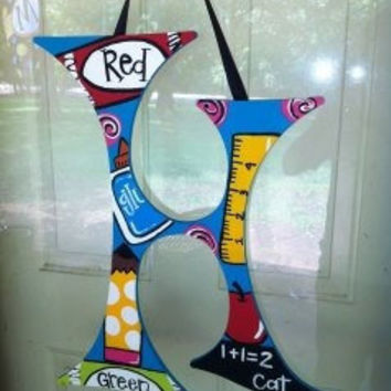 Funky Painted Wood Letter Teacher Door Hanger School