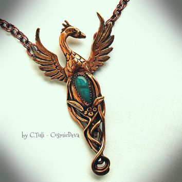Phoenix Rising From The Ashes Bronze Necklace Pendant with Blue Labradorite