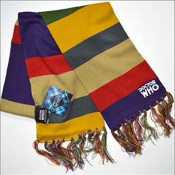 Dr Doctor Who Fourth 4th Costume Striped Knit Fringe Jacquard Scarf 6.75ft NEW
