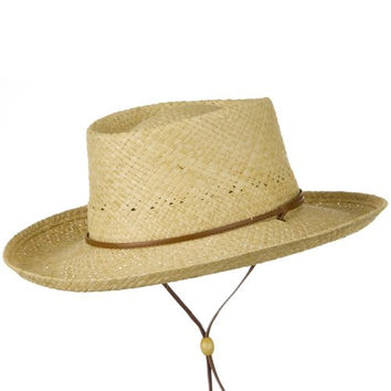 UPF 50+ Gambler Raffia Natural Straw Hat - Natural L