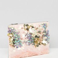 ASOS Mermaid Embellishment Zip Top Clutch Bag at asos.com