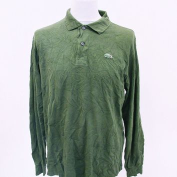 Retro Lacoste Polo Green T-Shirt Large