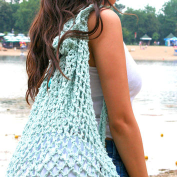 Turquoise crochet bag  Crochet bag  Summer bag Beach bag Backpack