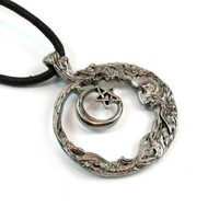 Wiccan Moon and Pentagram for Wisdom Pewter Pendant