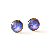 Purple Galaxy Post Earrings Space Jewelry Galaxy by JujuTreasures