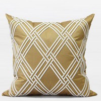 "Gold Textured Check Embroidered Pillow 20""X20"""