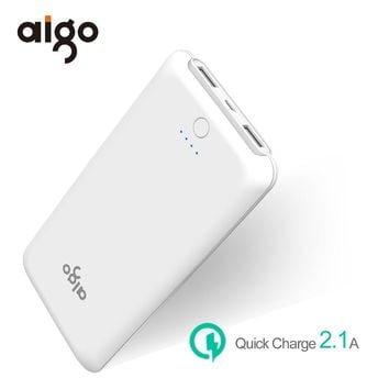 Aigo Power Bank 10000mAh Ultra Slim Dual USB Fast Charger Portable External Battery Powerbank Power Supply for Iphone 6 6s 7 7 8