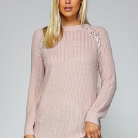 Lace Up Side Sweater - Mauve