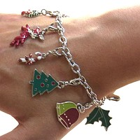 Christmas Themed Charm Bracelet With 12 Interchangeable Charms