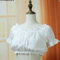Kawaii Women's Sweet Lolita Off Shoulder Ruffles Sleep Top T shirts Tees.Girl's Ladies Slash neck Short Bustier Crop Tops Tee