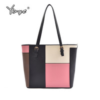 YBYT brand 2017 new patchwork totes large women shopping handbags hotsale joker briefcase package ladies shoulder messenger bags
