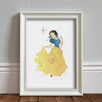 Snow White WATERCOLOR Art illustration, Disney Princess, Wall Art, Nursery, Digital Poster Print, INSTANT DOWNLOAD