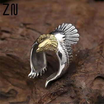 Unique Men and Women Eagle Jewelry Silver Material Biker Eagle Ring Unisex High Quality Silver Animal Jewerly