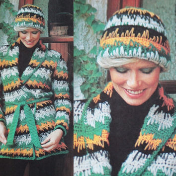 Vintage cardigan striped sweater crochet hat pattern PDF Instant Download CARDIGAN crochet womans sweater supplies epsteam knitting pattern