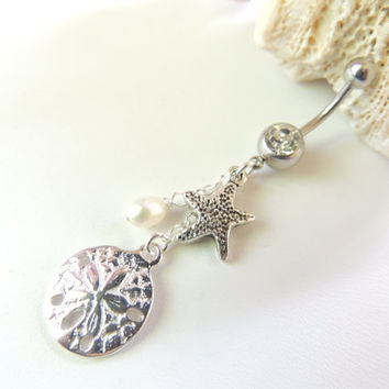 Sand Dollar / Starfish Belly Button Ring, Pearl Belly Ring, Belly Button Jewelry, Nautical Beach Starfish Sand Dollar. 31