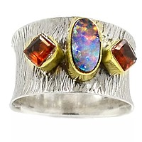 Australian Fire Opal & Garnet Sterling Silver Two Tone Band Ring