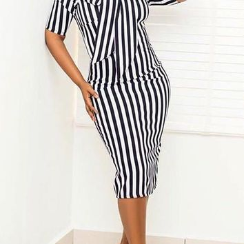 Black-White Striped Print Bowknot Half Sleeve Bodycon Elegant Party Midi Dress