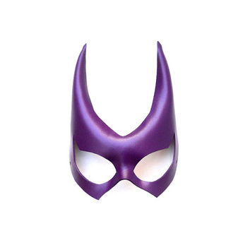 Batgirl Huntress Leather Mask Purple Violet Super Hero Gift Sexy Masquerade Heroic Carnival Halloween Mardi Gras Batman Costume Party