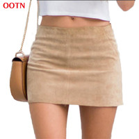 OOTN fashion brief Bodycon suede midi skirts beige women above knee skirt a-line pencil elastic mini short skirts 2017 summer