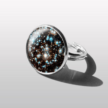 RING Galaxy Star sky Nebula star sky Jewelry  Adjustable Ring. Gift for Women (Mum) and Girls (sister).