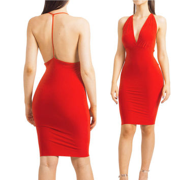 Red Backless Dress 2016 Sexy Womens Night Party Club Dresses Back Open Bandage Dress Slim Clubwear Bodycon Dress For Women