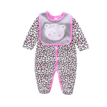 Baby Rompers cotton Bear/dog/owl/cow printing infant Boy rompers Jumpsuit+bib baby wear Baby girl Rompers Newborn Clothes